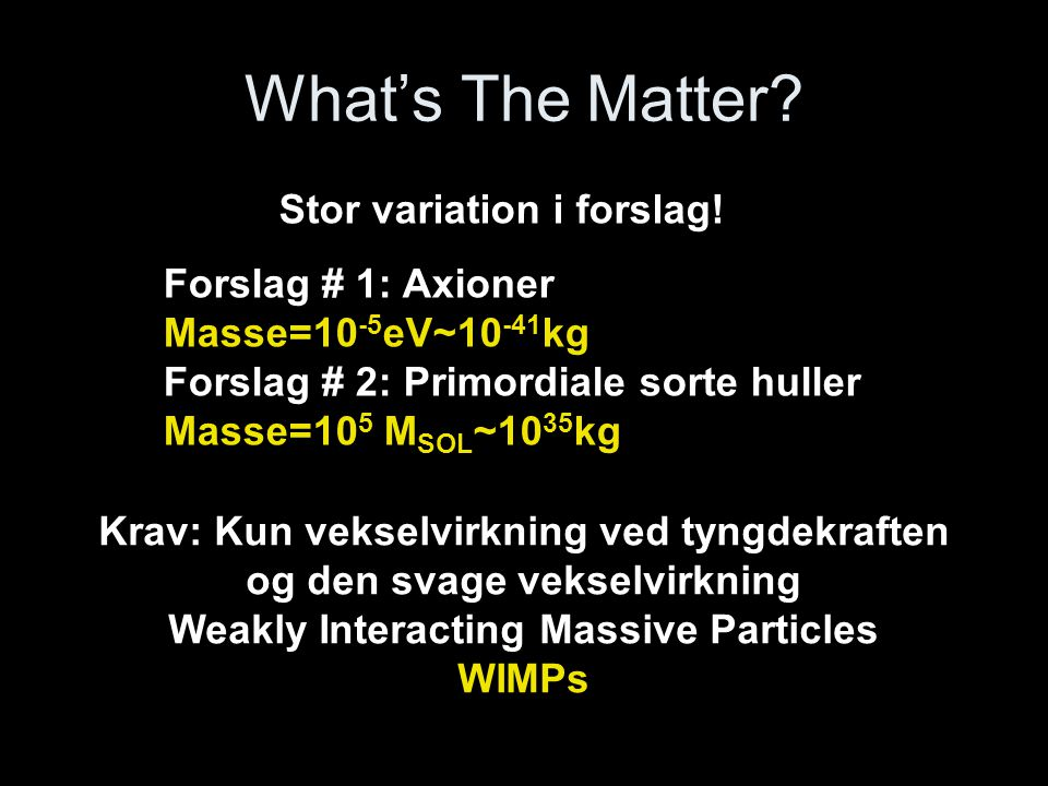 What's The Matter Stor variation i forslag! Forslag # 1: Axioner