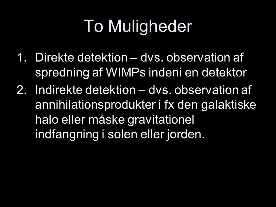 To Muligheder Direkte detektion – dvs. observation af spredning af WIMPs indeni en detektor.
