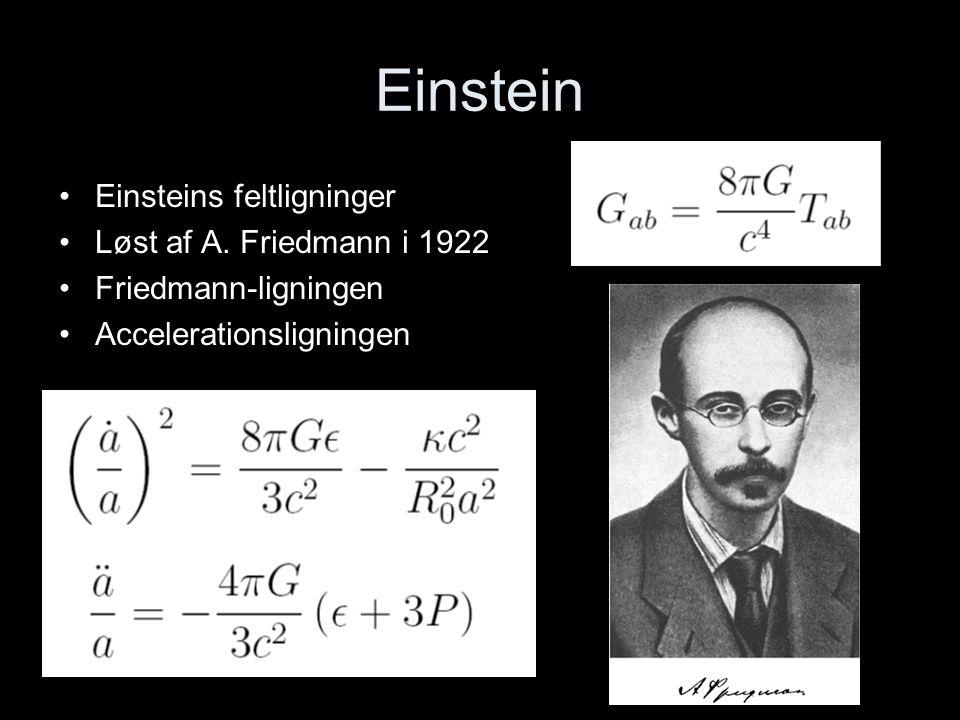 Einstein Einsteins feltligninger Løst af A. Friedmann i 1922