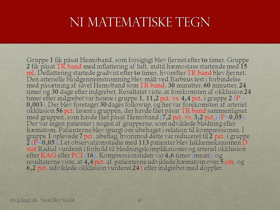 Ni Matematiske tegn
