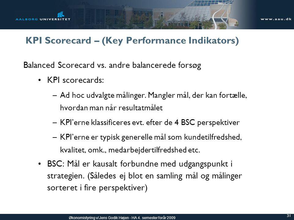 KPI Scorecard – (Key Performance Indikators)