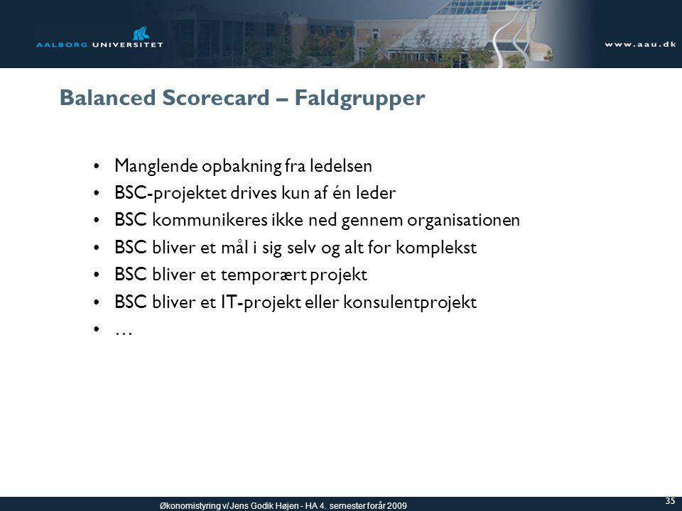 Balanced Scorecard – Faldgrupper