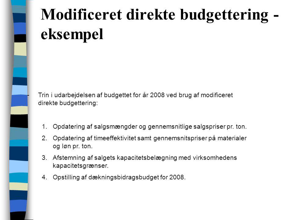 Modificeret direkte budgettering - eksempel