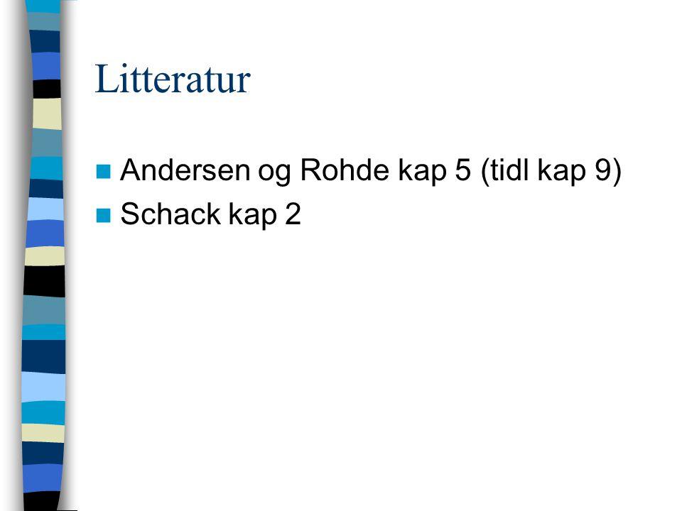 Litteratur Andersen og Rohde kap 5 (tidl kap 9) Schack kap 2
