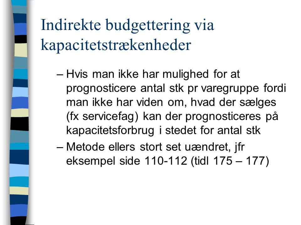Indirekte budgettering via kapacitetstrækenheder