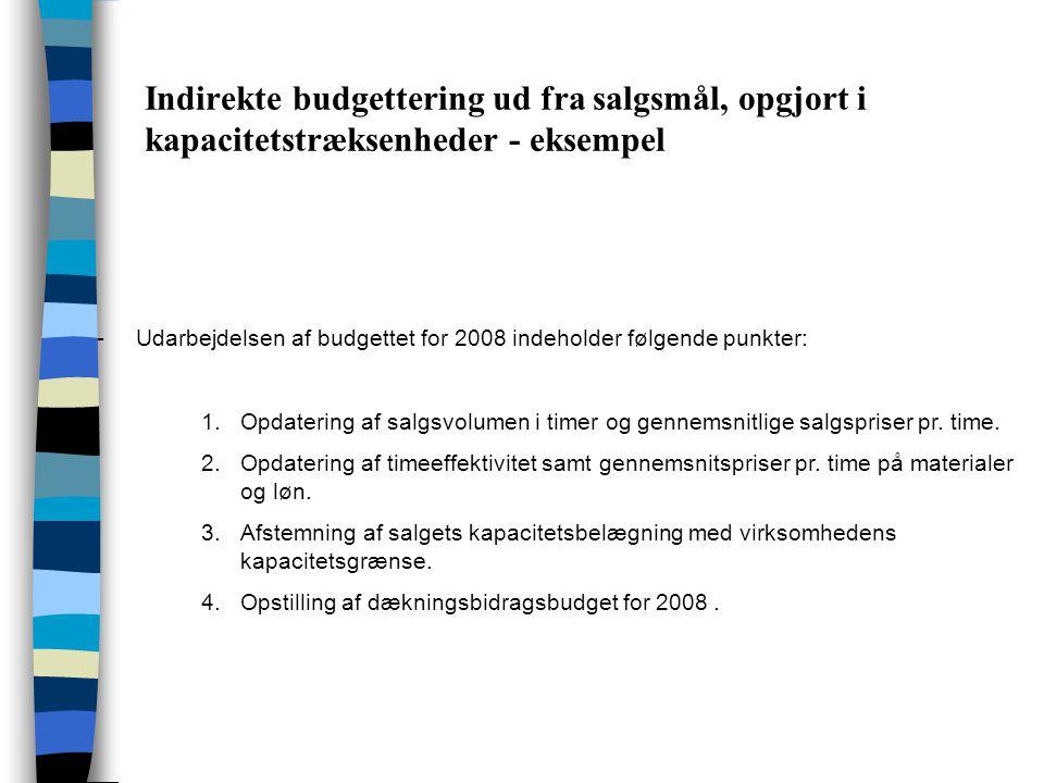 Indirekte budgettering ud fra salgsmål, opgjort i kapacitetstræksenheder - eksempel