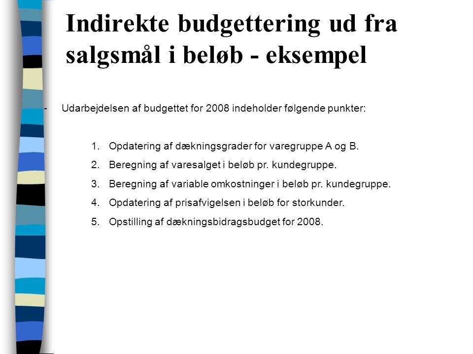Indirekte budgettering ud fra salgsmål i beløb - eksempel