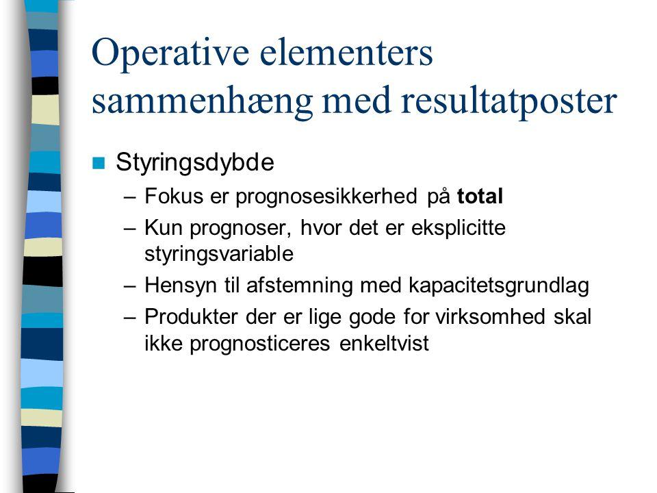 Operative elementers sammenhæng med resultatposter