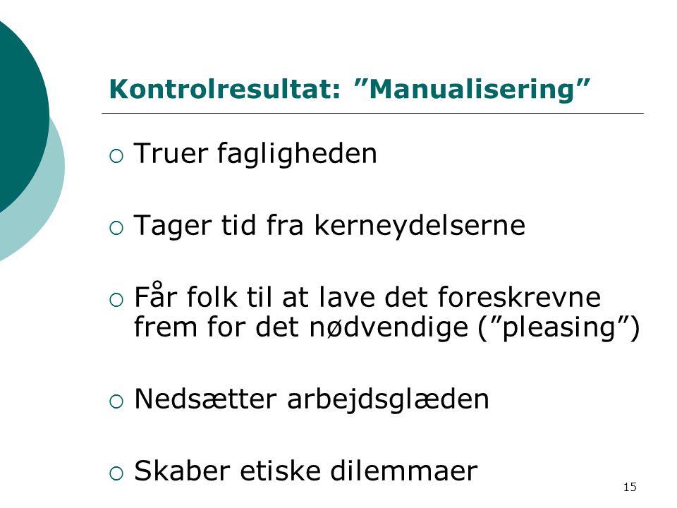 Kontrolresultat: Manualisering