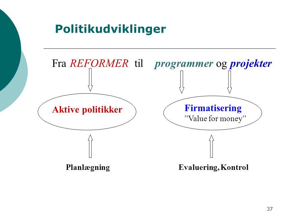 Fra REFORMER til programmer og projekter