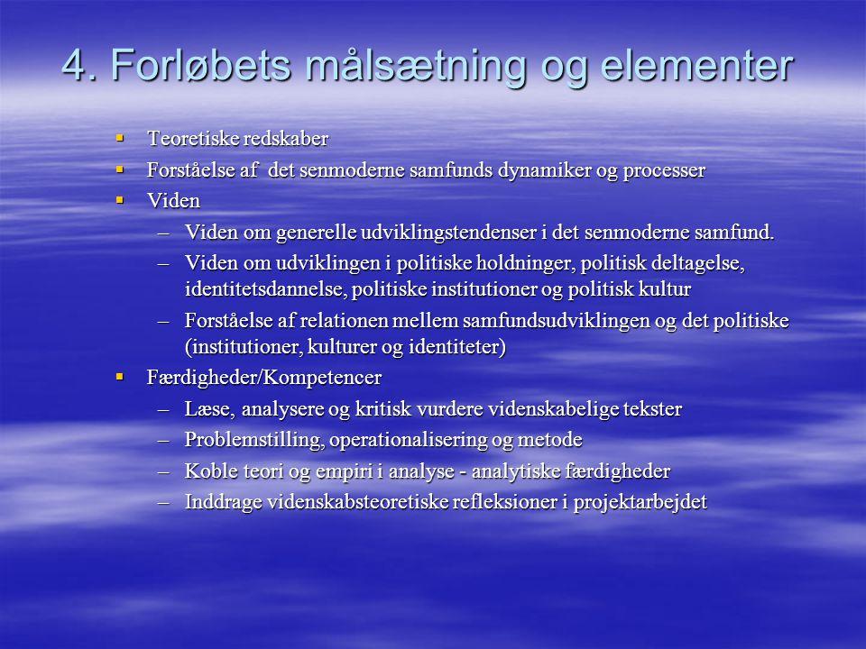 4. Forløbets målsætning og elementer