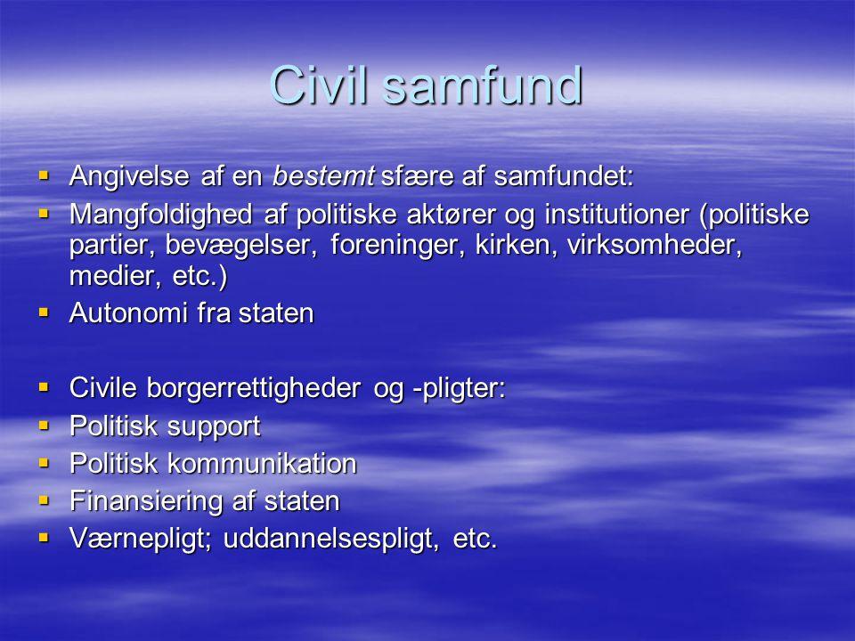 Civil samfund Angivelse af en bestemt sfære af samfundet: