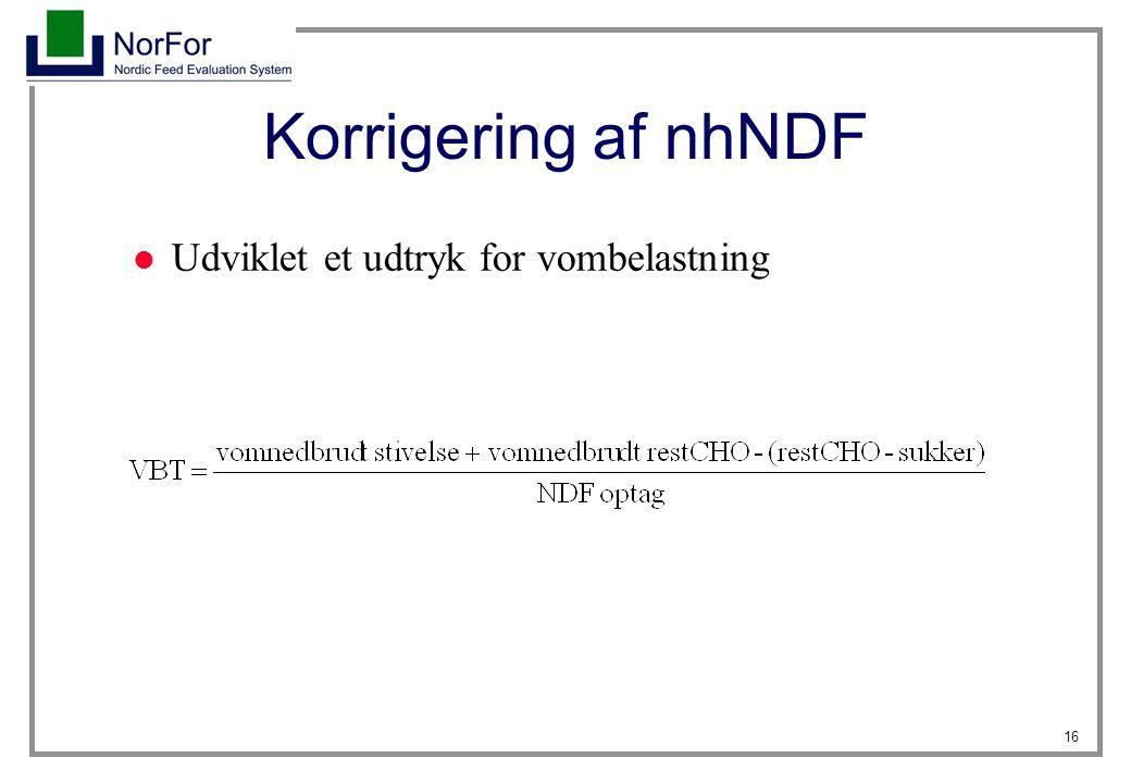 Korrigering af nhNDF Udviklet et udtryk for vombelastning