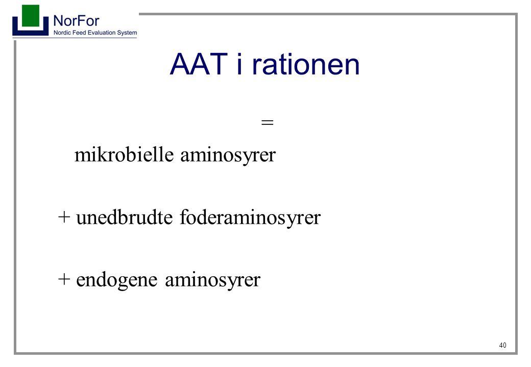 AAT i rationen = mikrobielle aminosyrer + unedbrudte foderaminosyrer