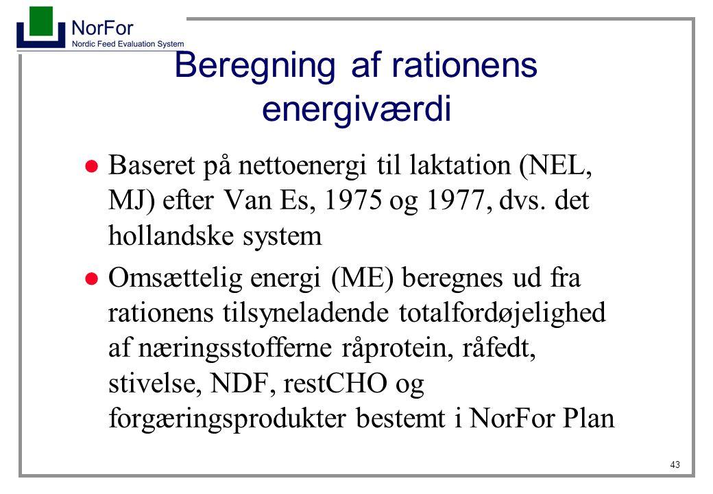 Beregning af rationens energiværdi