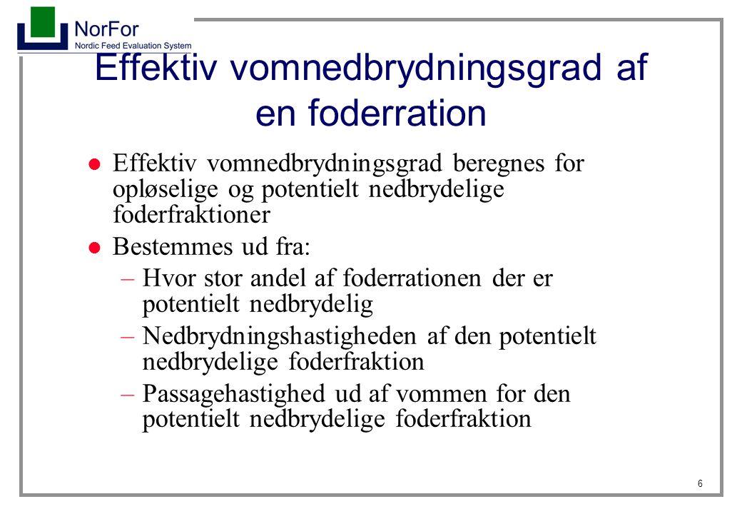 Effektiv vomnedbrydningsgrad af en foderration