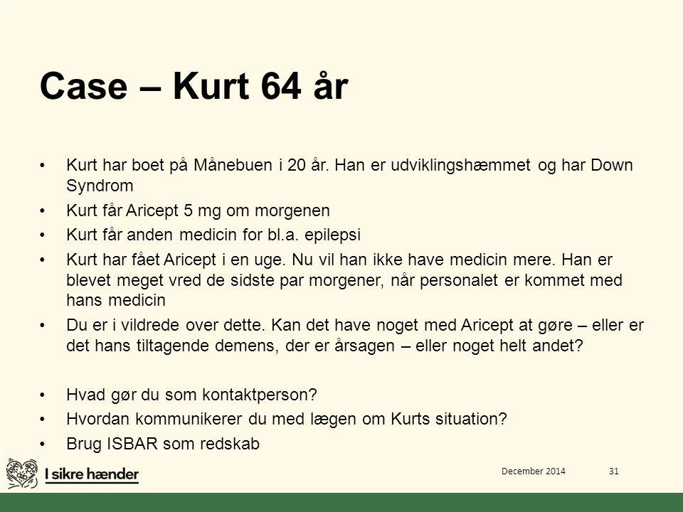 Case – Kurt 64 år Kurt har boet på Månebuen i 20 år. Han er udviklingshæmmet og har Down Syndrom. Kurt får Aricept 5 mg om morgenen.