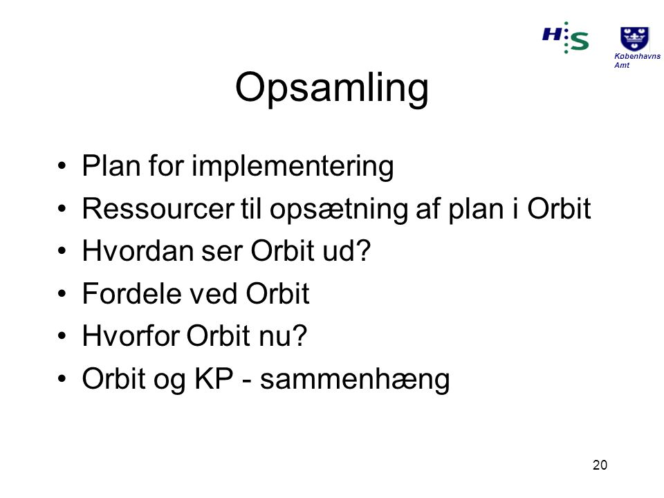 Opsamling Plan for implementering