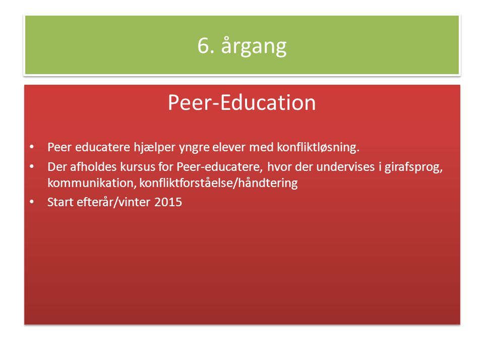 6. årgang Peer-Education