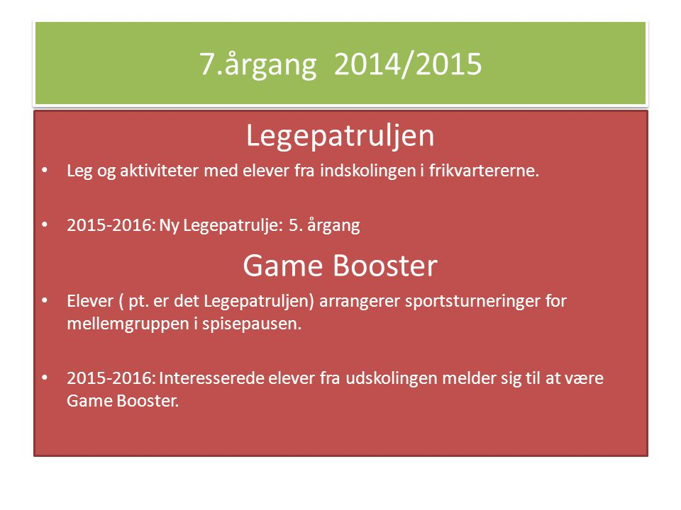 7.årgang 2014/2015 Legepatruljen Game Booster
