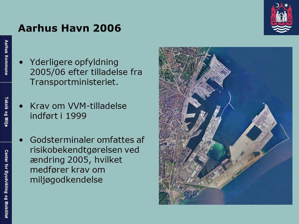 Aarhus Havn 2006 Yderligere opfyldning 2005/06 efter tilladelse fra Transportministeriet. Krav om VVM-tilladelse indført i 1999.