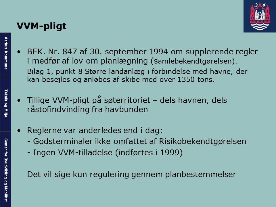 VVM-pligt BEK. Nr. 847 af 30. september 1994 om supplerende regler i medfør af lov om planlægning (samlebekendtgørelsen).