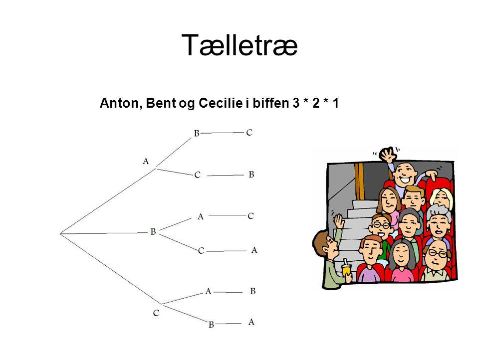 Tælletræ Anton, Bent og Cecilie i biffen 3 * 2 * 1