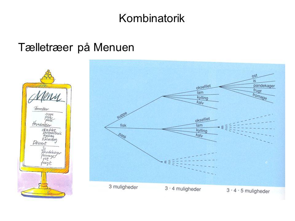 Kombinatorik Tælletræer på Menuen