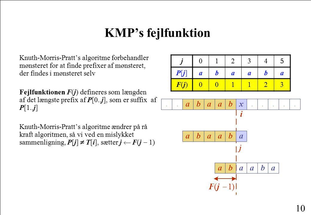 KMP's fejlfunktion F ( j - 1 ) i
