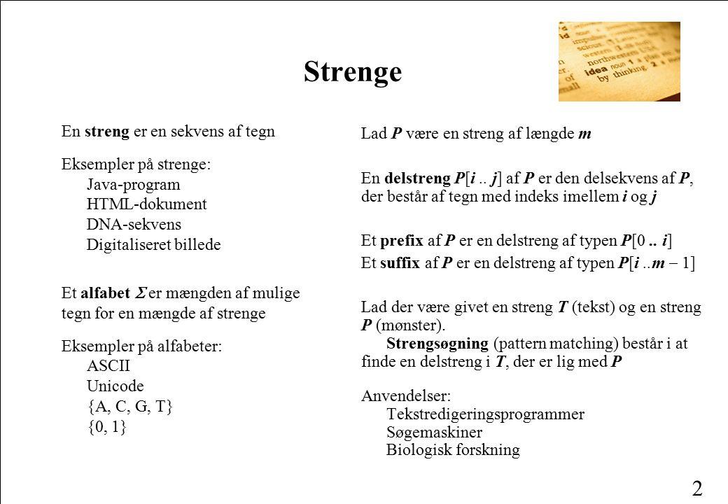 Strenge En streng er en sekvens af tegn