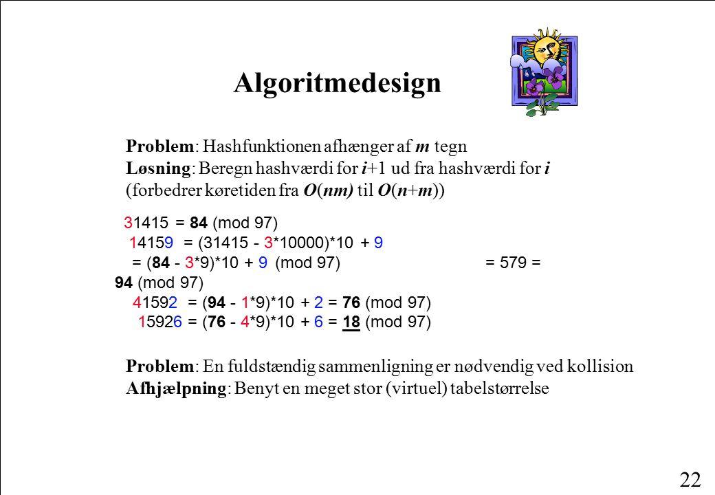 Algoritmedesign Problem: Hashfunktionen afhænger af m tegn