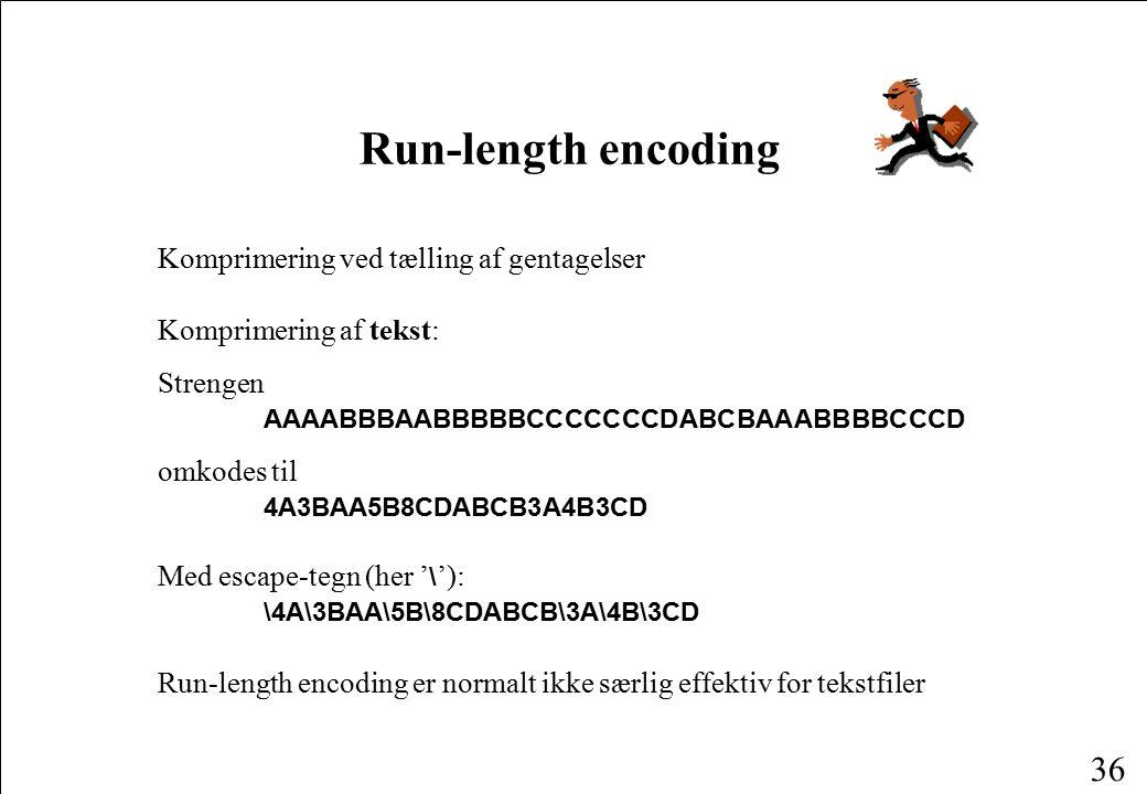 Run-length encoding Komprimering ved tælling af gentagelser
