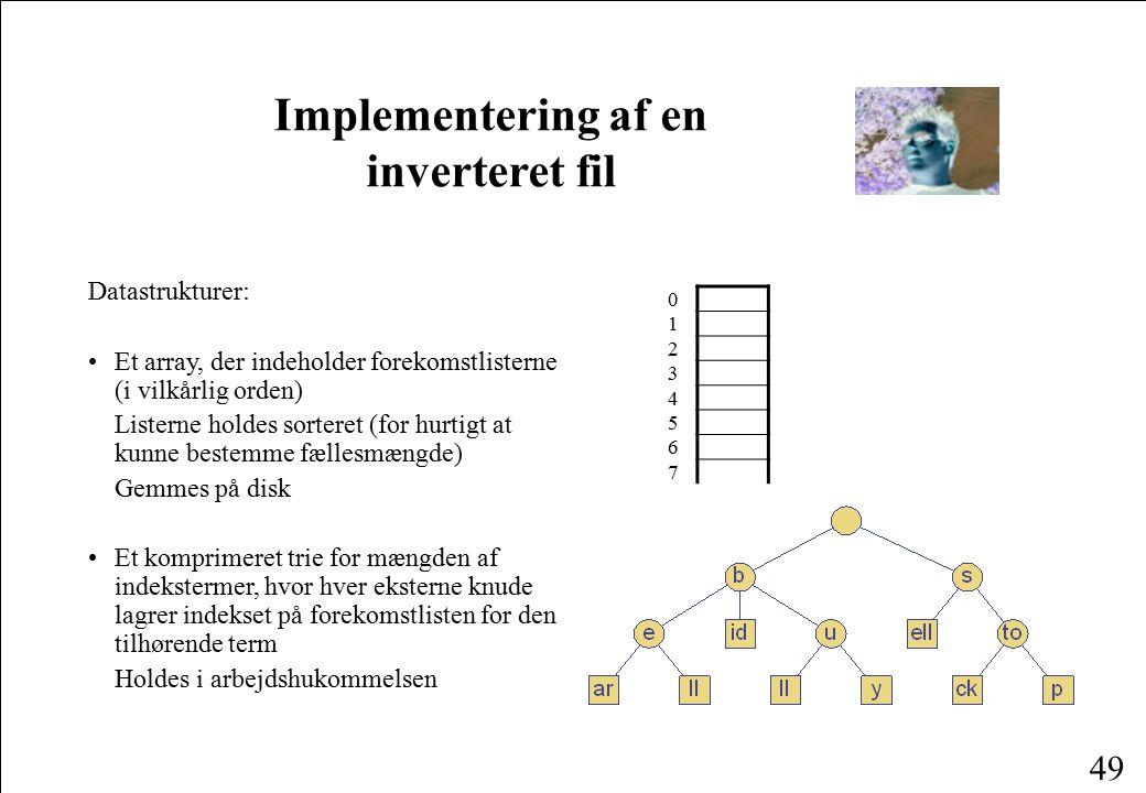 Implementering af en inverteret fil