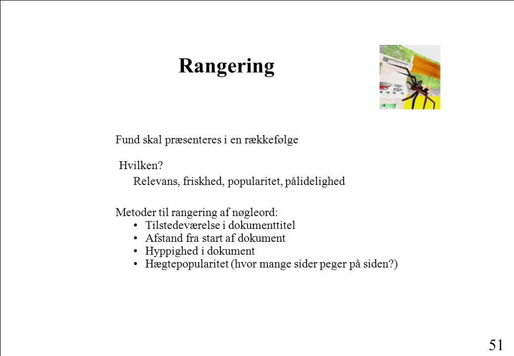 Rangering Fund skal præsenteres i en rækkefølge Hvilken
