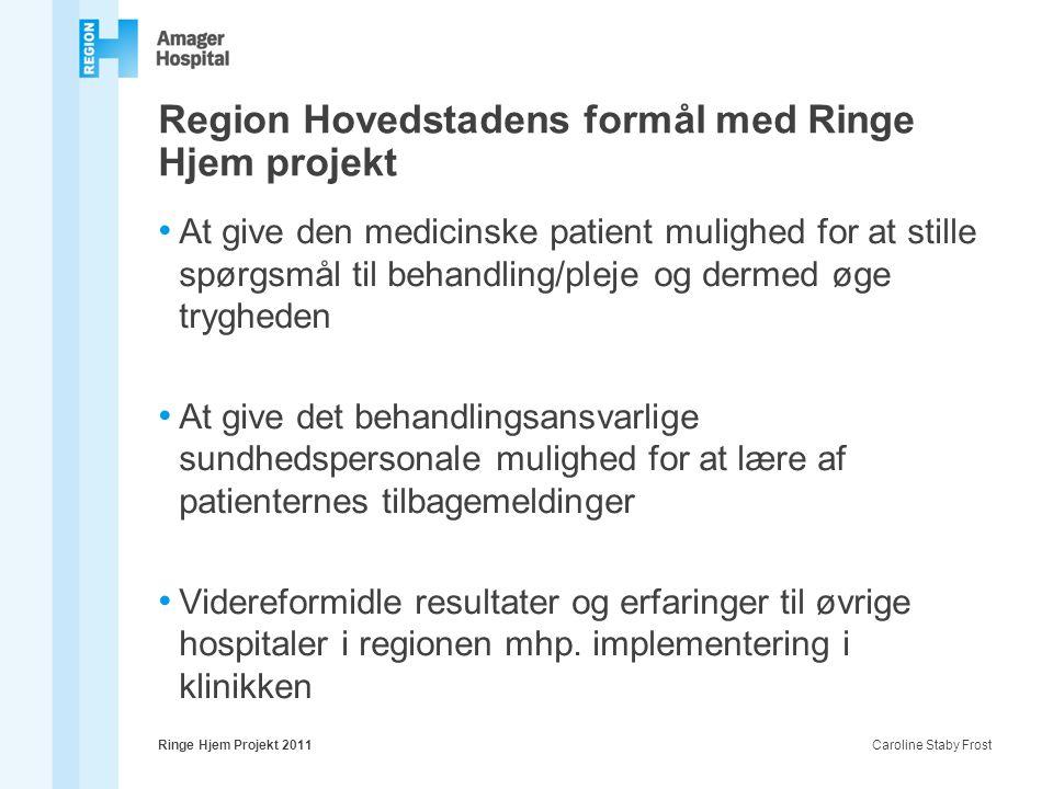 Region Hovedstadens formål med Ringe Hjem projekt