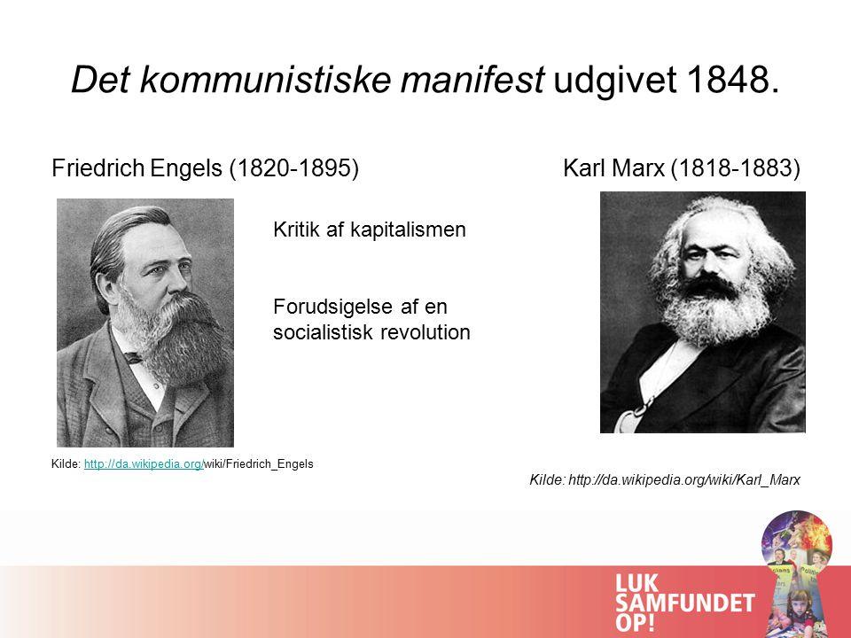 Det kommunistiske manifest udgivet 1848.