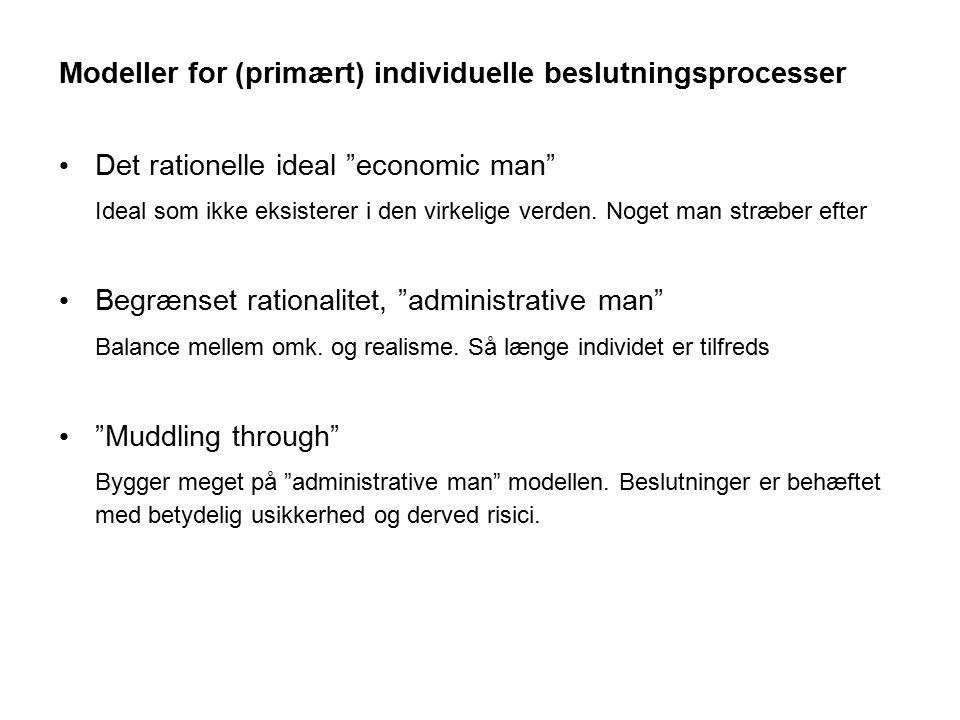 Modeller for (primært) individuelle beslutningsprocesser
