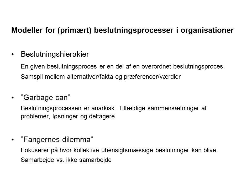 Modeller for (primært) beslutningsprocesser i organisationer