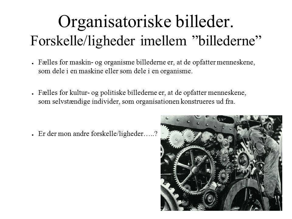 Organisatoriske billeder. Forskelle/ligheder imellem billederne