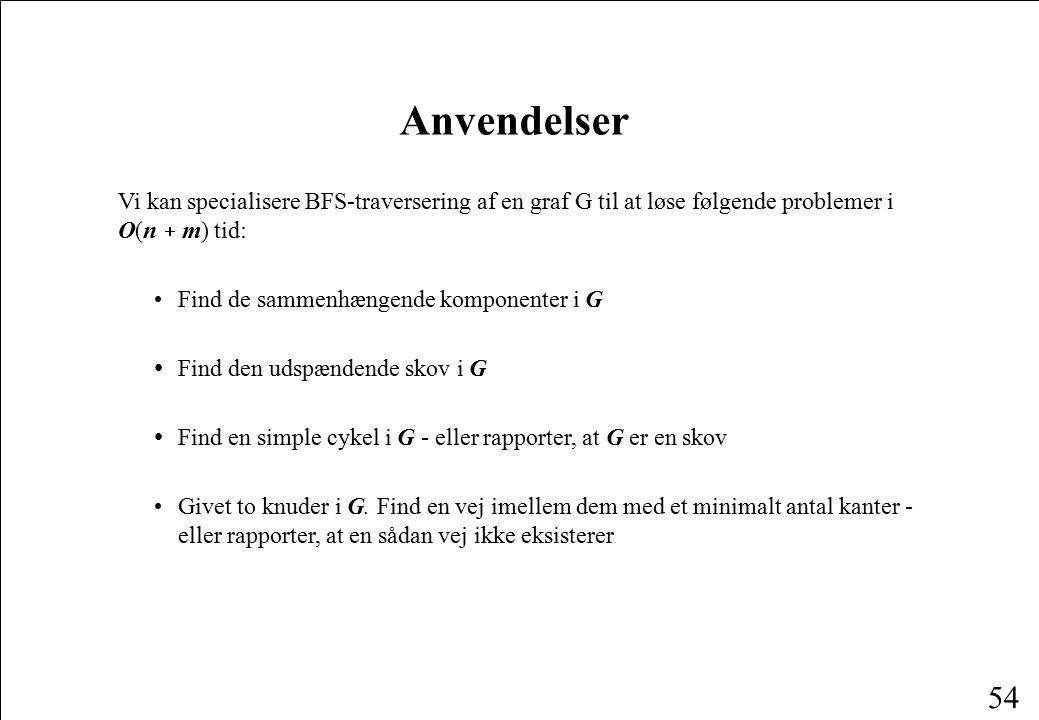 Anvendelser Vi kan specialisere BFS-traversering af en graf G til at løse følgende problemer i O(n + m) tid: