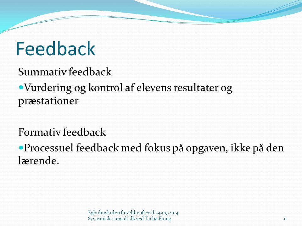 Feedback Summativ feedback