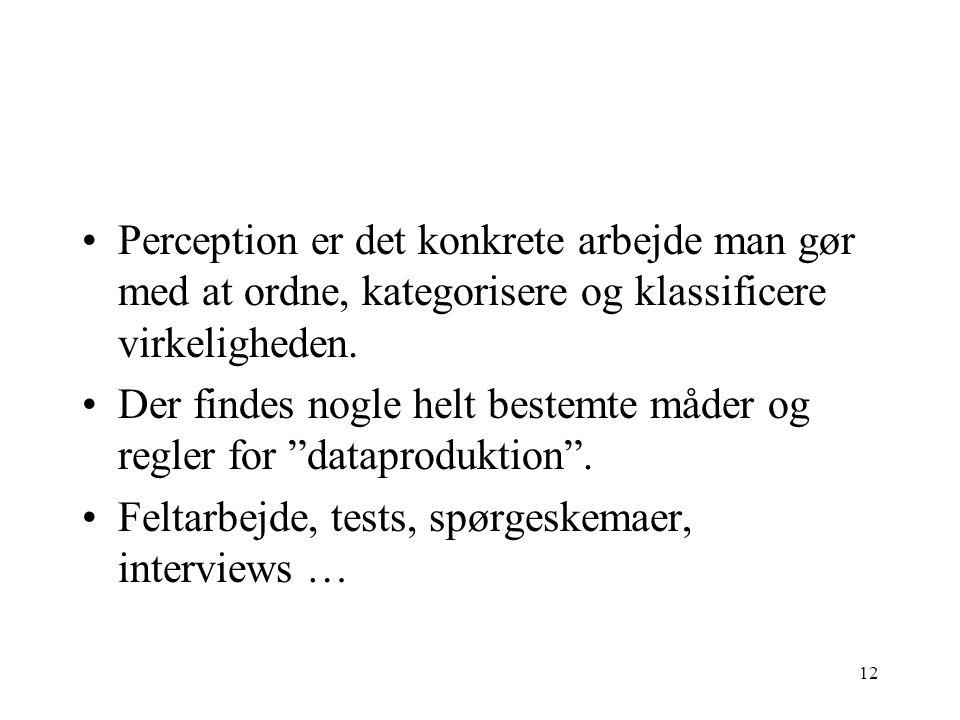 Perception er det konkrete arbejde man gør med at ordne, kategorisere og klassificere virkeligheden.