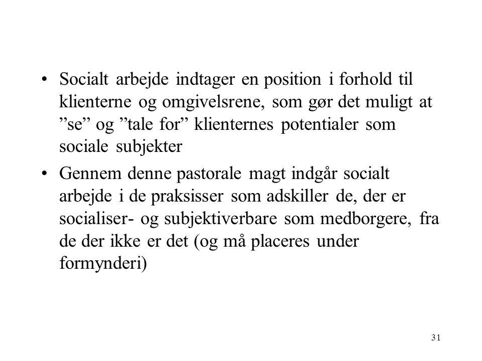 Socialt arbejde indtager en position i forhold til klienterne og omgivelsrene, som gør det muligt at se og tale for klienternes potentialer som sociale subjekter