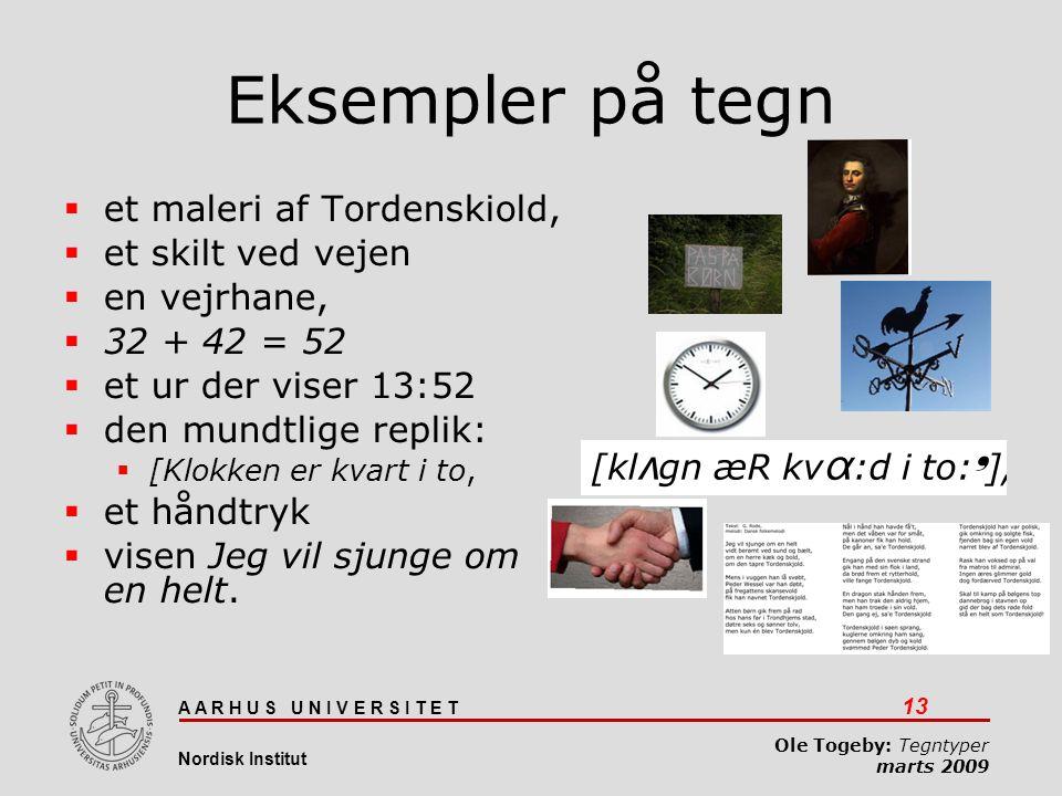 Eksempler på tegn et maleri af Tordenskiold, et skilt ved vejen