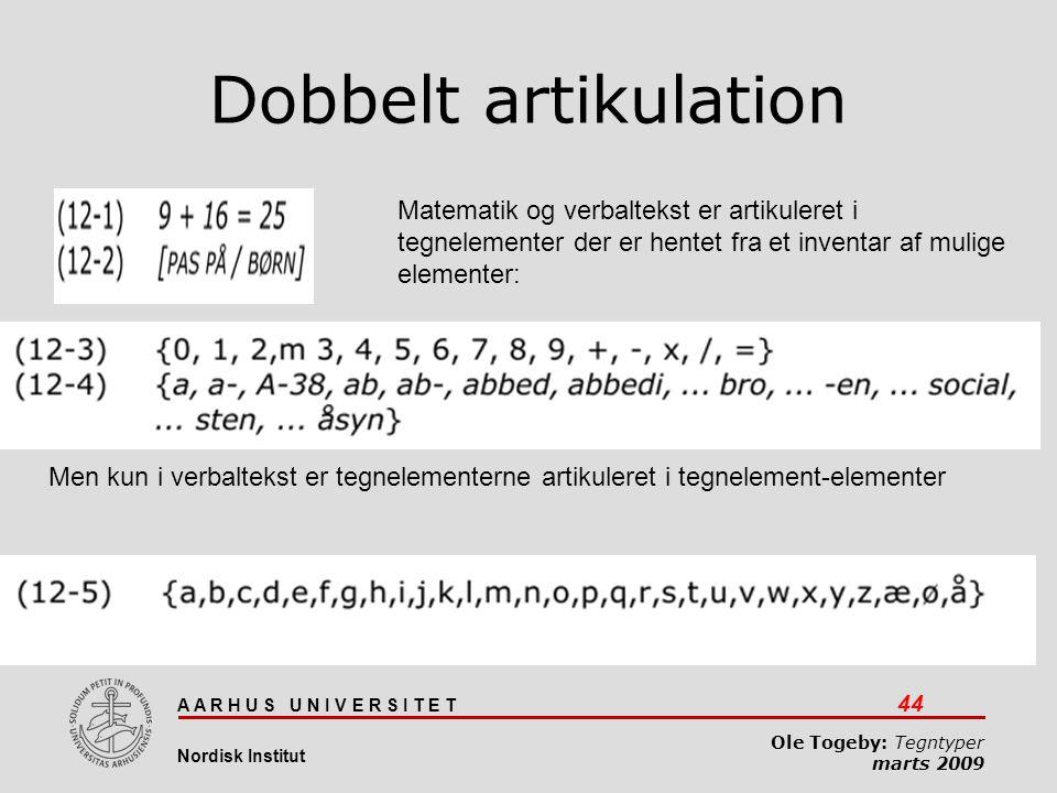 Dobbelt artikulation Matematik og verbaltekst er artikuleret i tegnelementer der er hentet fra et inventar af mulige elementer: