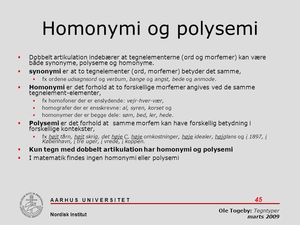 Homonymi og polysemi Dobbelt artikulation indebærer at tegnelementerne (ord og morfemer) kan være både synonyme, polyseme og homonyme.