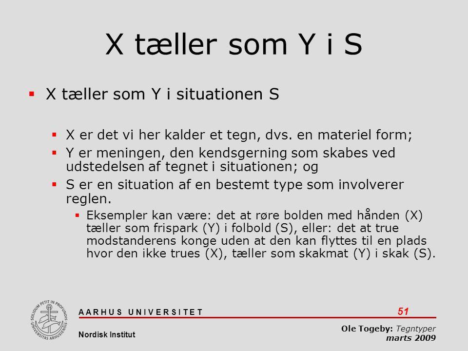 X tæller som Y i S X tæller som Y i situationen S