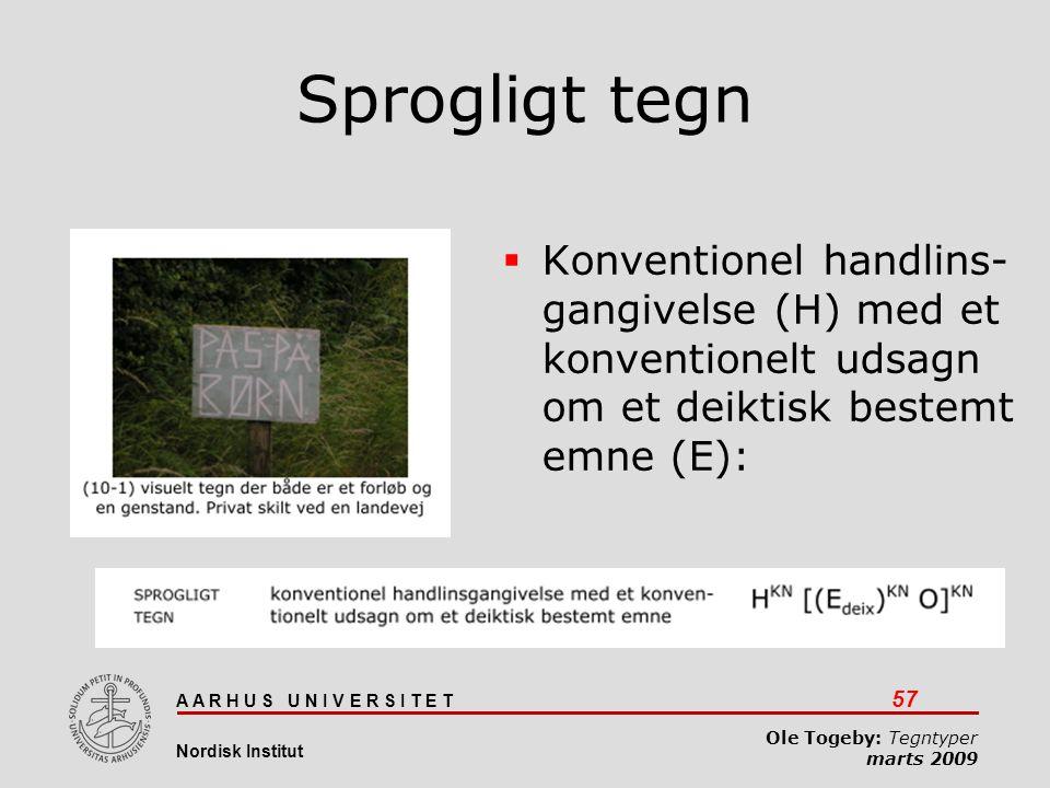 Sprogligt tegn Konventionel handlins- gangivelse (H) med et konventionelt udsagn om et deiktisk bestemt emne (E):