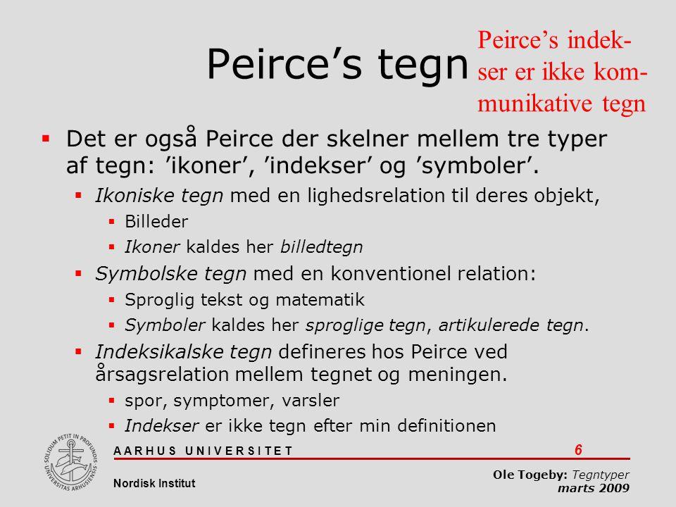 Peirce's tegn Peirce's indek-ser er ikke kom-munikative tegn