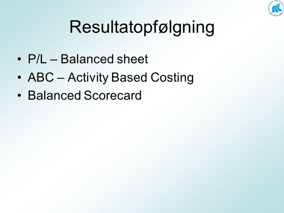 Resultatopfølgning P/L – Balanced sheet ABC – Activity Based Costing